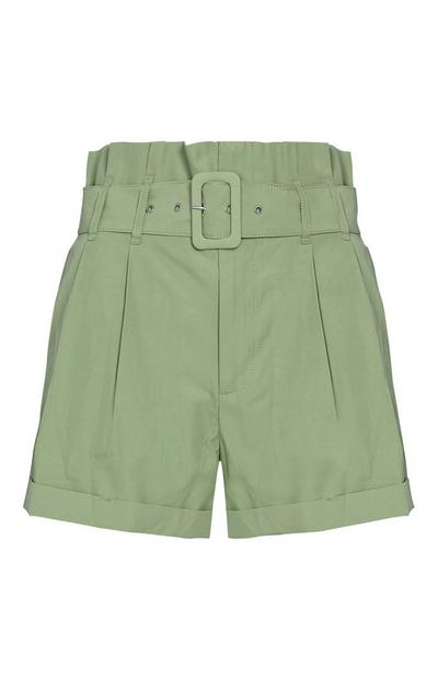 Khaki Buckle Shorts