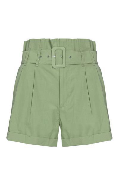 Khaki Buckle Shorts