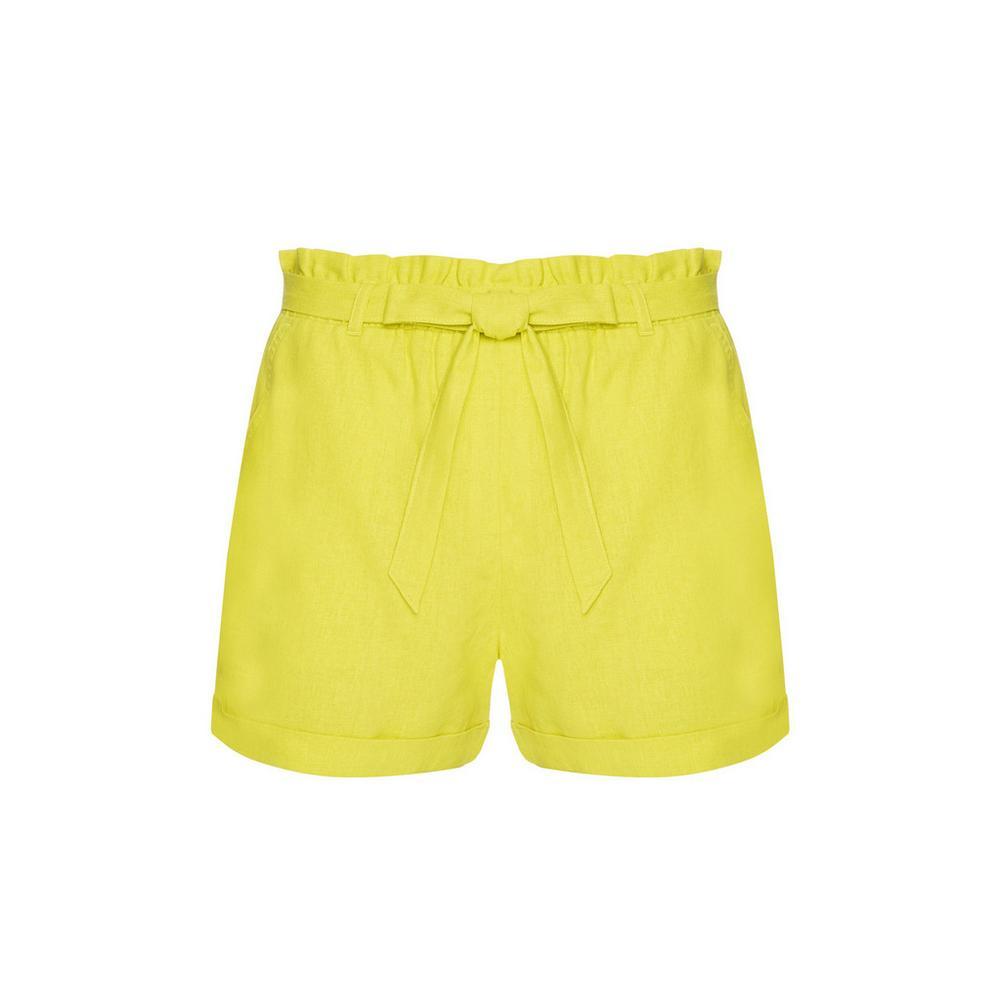 5145f5ee9b1d Pantalón corto verde lima con cinturón | Pantalones cortos | Mujer ...