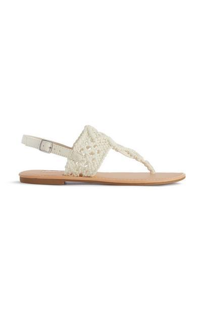 White Crochet Sandal