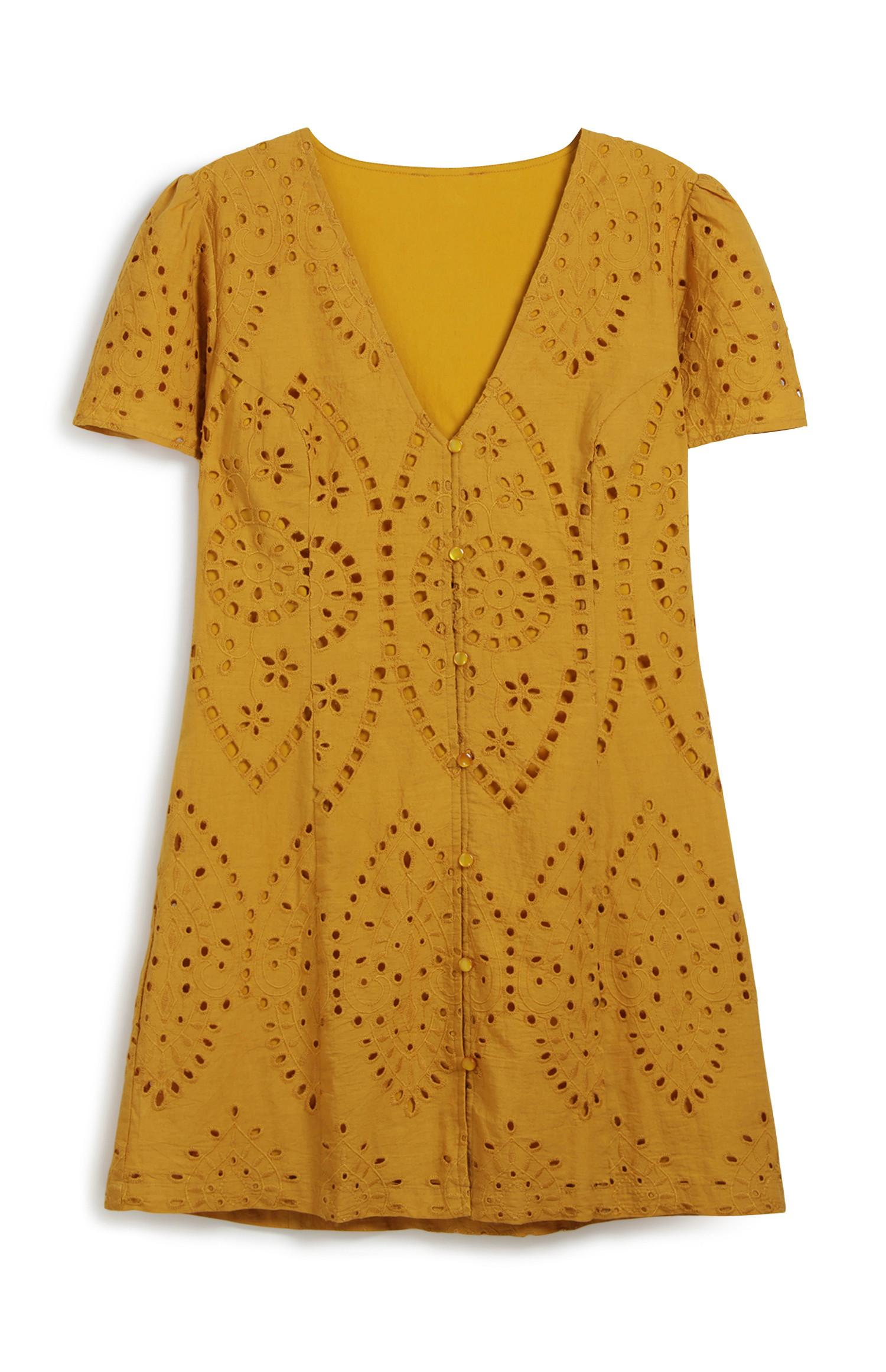 Mustard Embroidery Dress