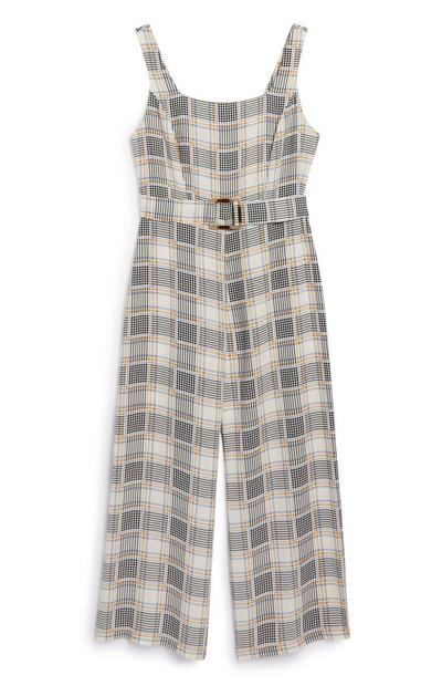 Belted Check Jumpsuit