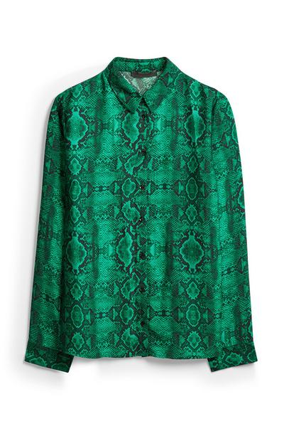 Green Snake Print Shirt