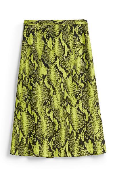 Lime Snake Print Skirt