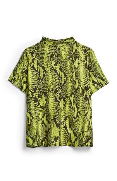 Lime Snake Print Shell Top
