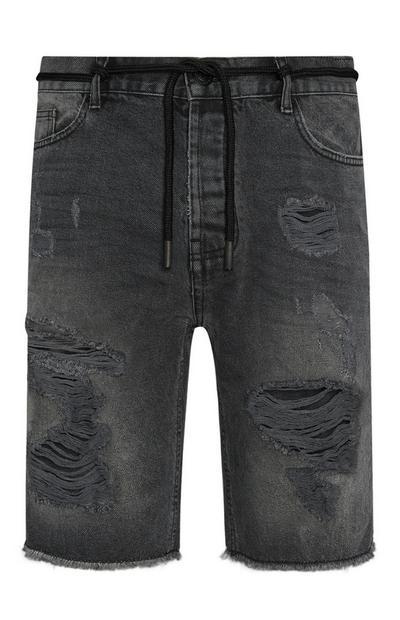 Black Ripped Denim Shorts