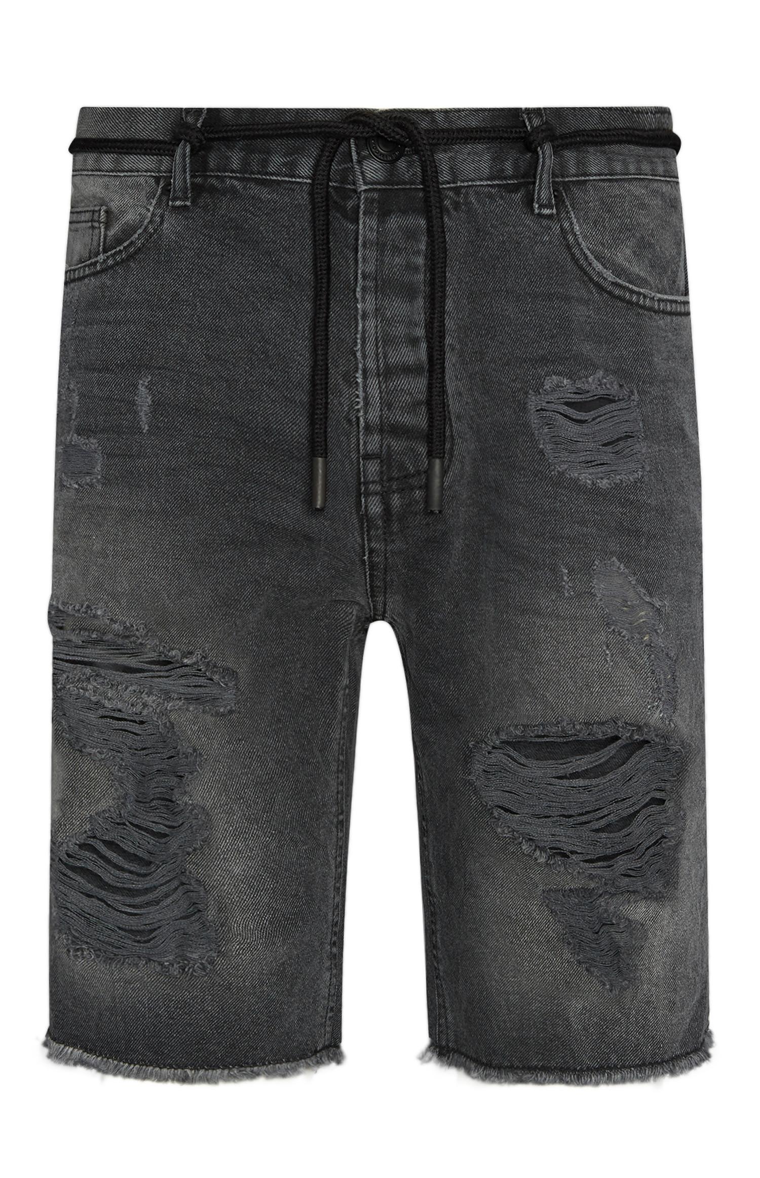 Zwarte denim shorts met scheuren