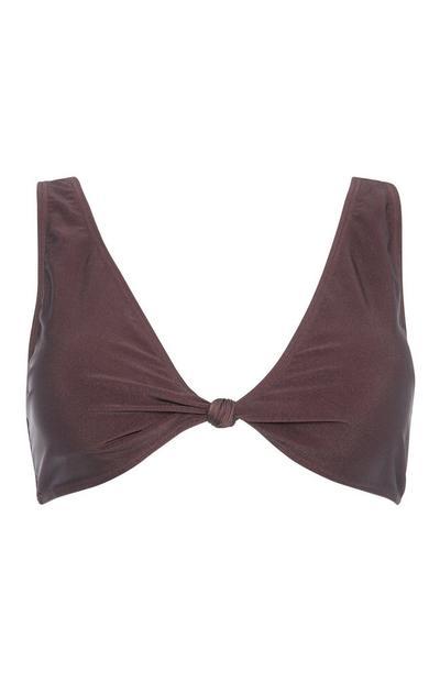 Brown Knot Bikini Top