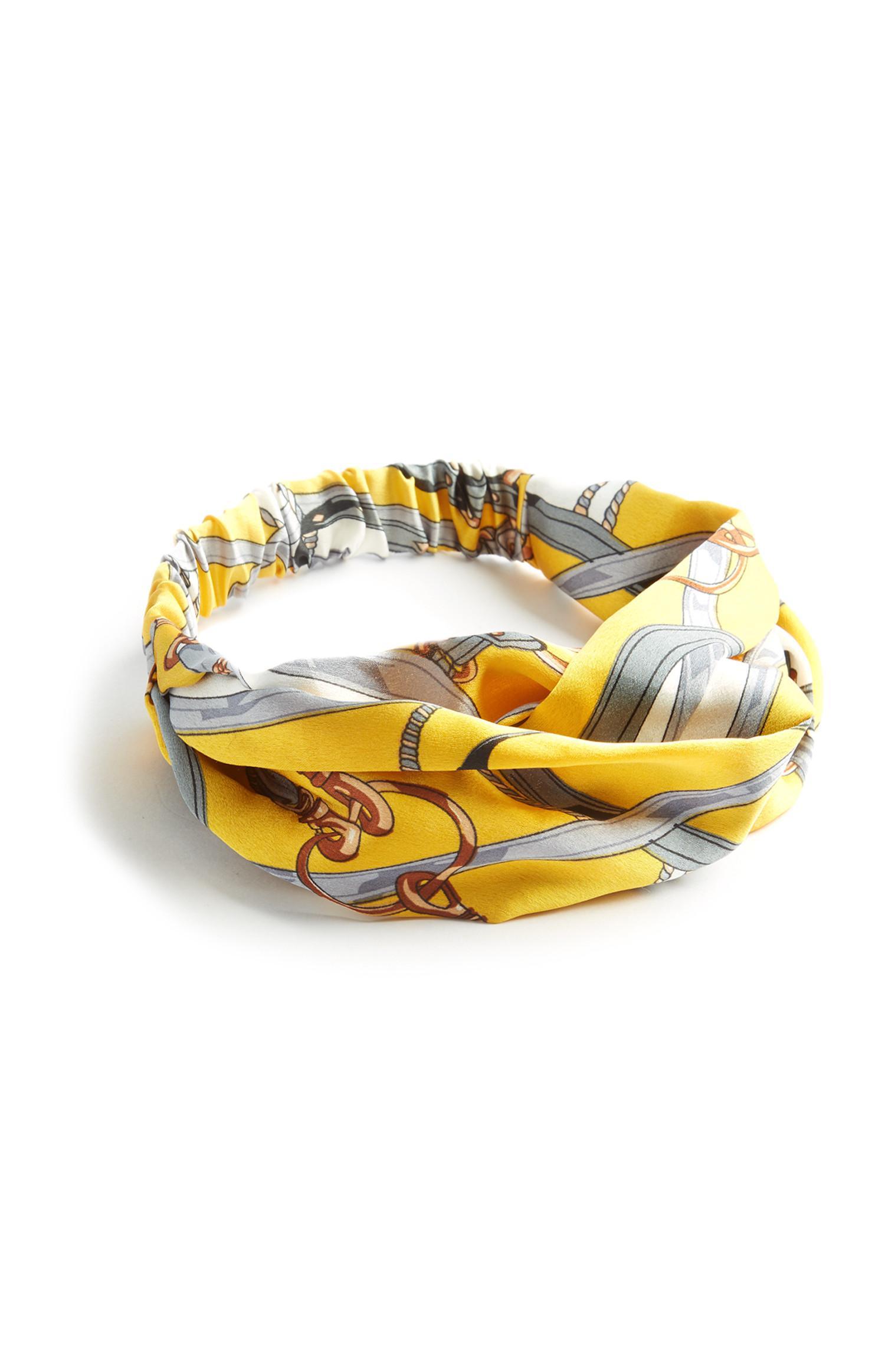 Gele haarband met kettingprint