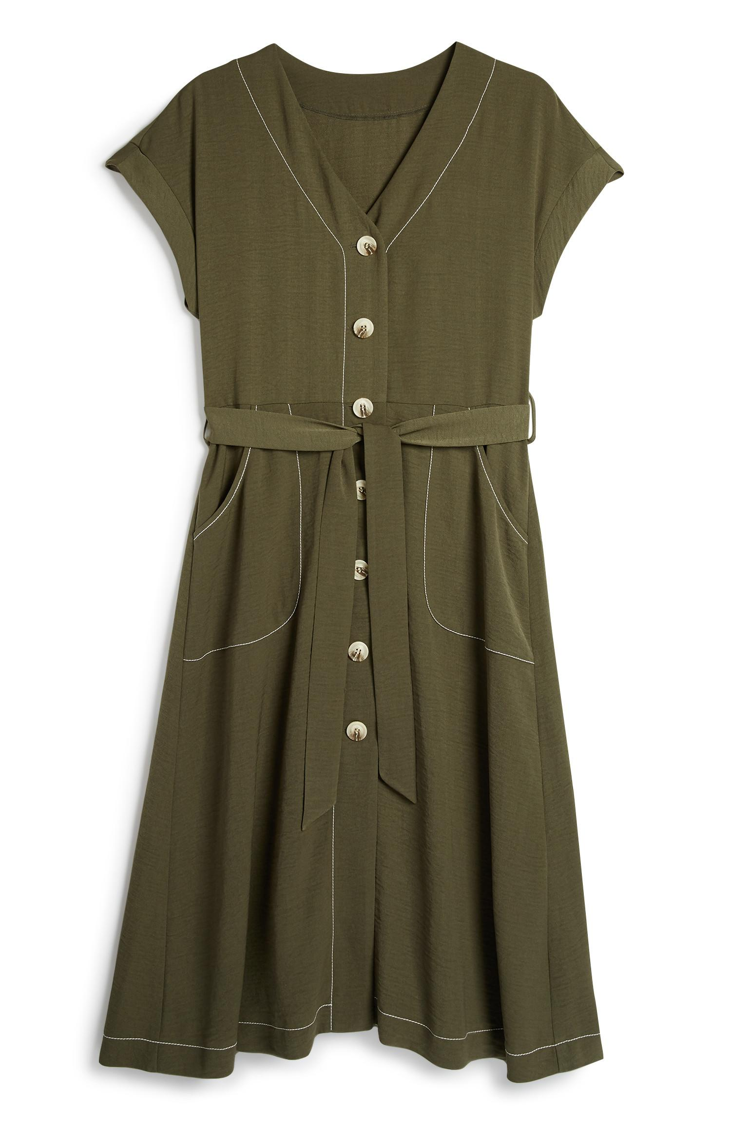 Khaki Stich Midi Dress