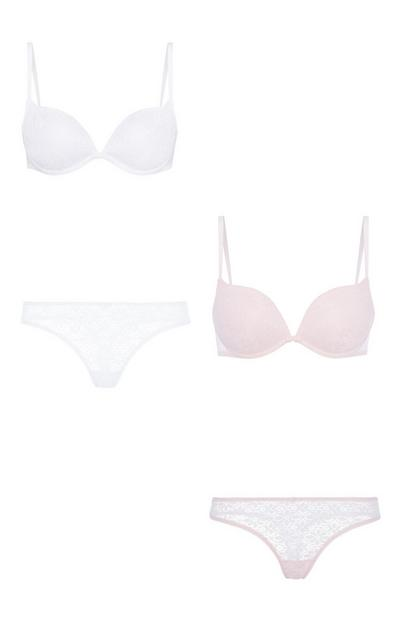 White And Pink Bra And Brief 2Pk