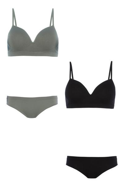 Khaki Bra And Brief 2Pk Set