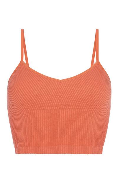 Orange Ribbed Cami Top