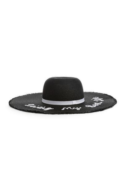 Black Slogan Floppy Hat