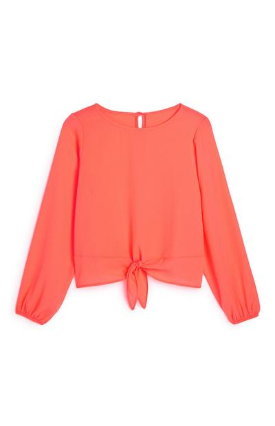 Older Girl Tie Front Coral Blouse