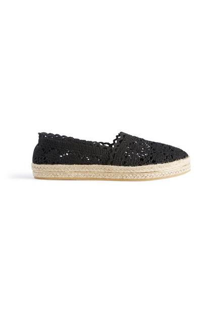 Black Crochet Espadrille