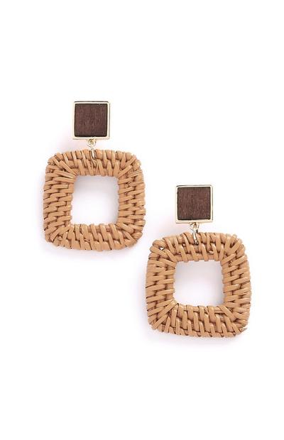 Tan Woven Earrings
