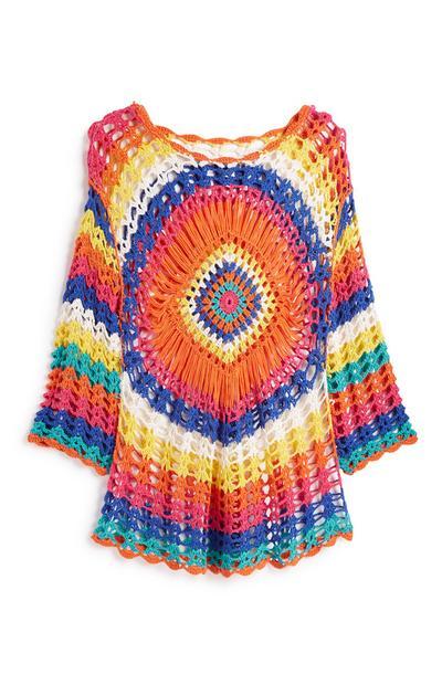 Multicoloured Crochet Knit Dress