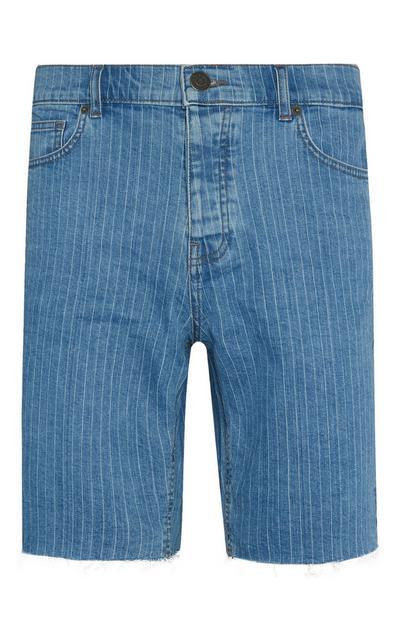 Blue Stripe Denim Shorts
