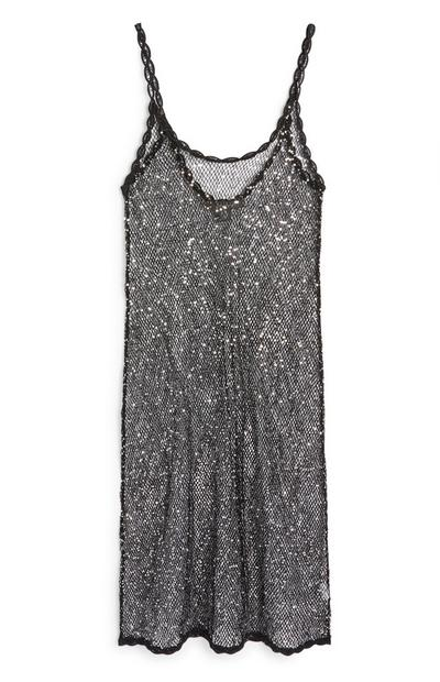 Black Sequin Knitted Dress