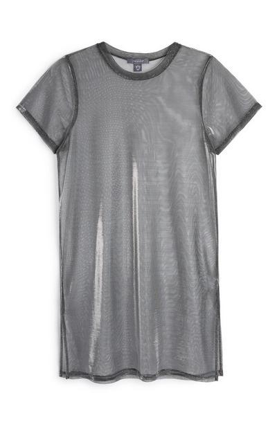 Silver Sheer T-Shirt Dress