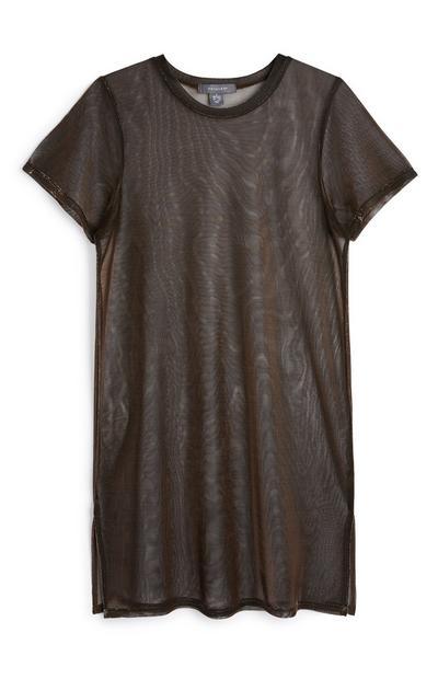 Black Sheer T-Shirt Dress
