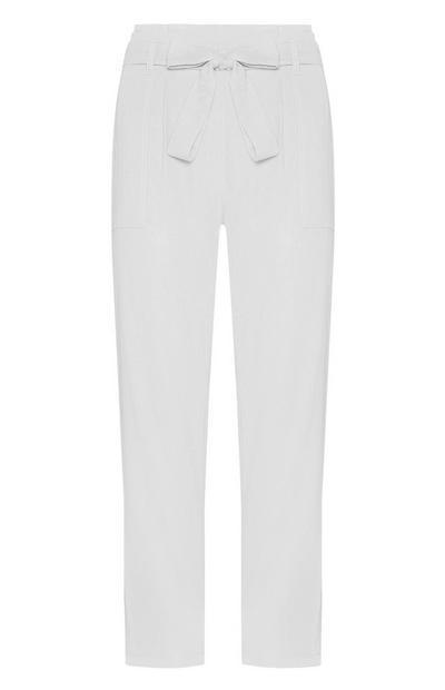 White Belted Linen Trouser
