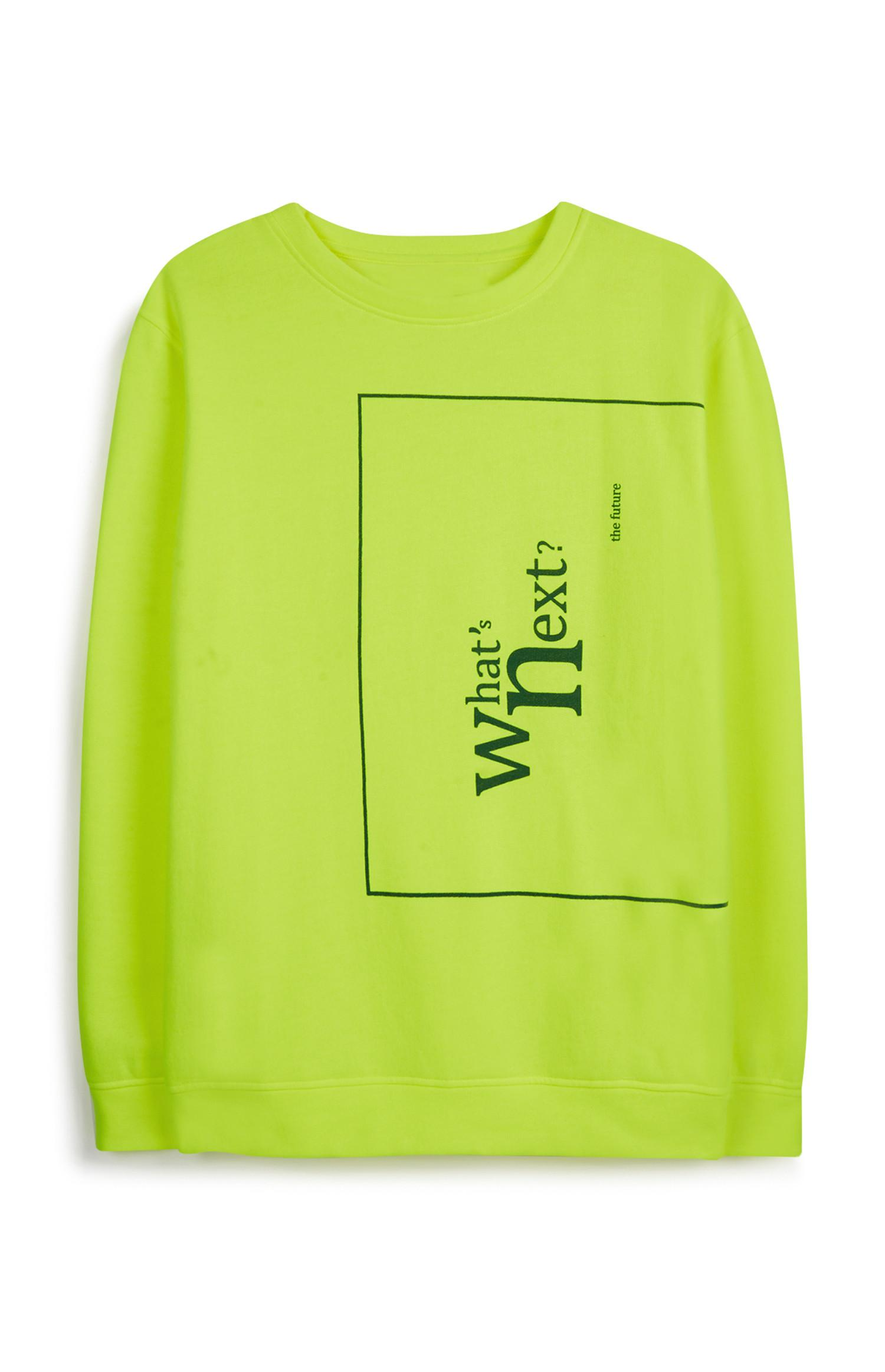 Neon Green Slogan Sweatshirt