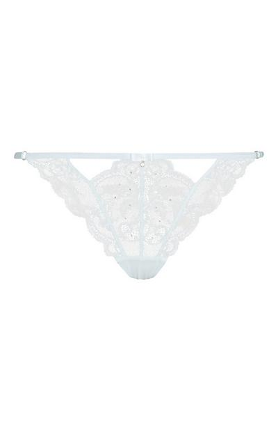 Light Blue Diamante Brief