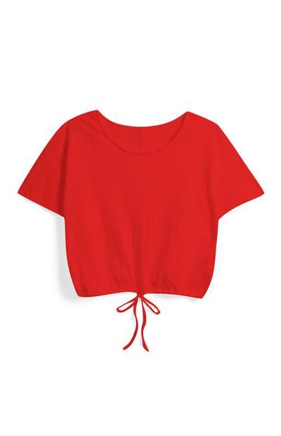 Red Drawstring Crop Top