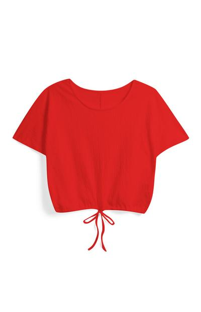 Red Drawstring Crop Top