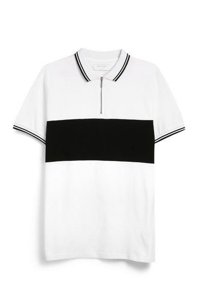 White And Black Polo Top