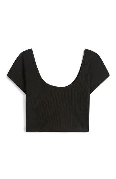 Black Scoop Crop Top