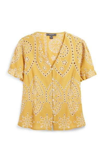 Mustard Embroidery Blouse