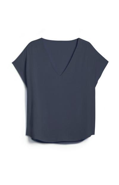 Marineblaues T-Shirt mit V-Ausschnitt