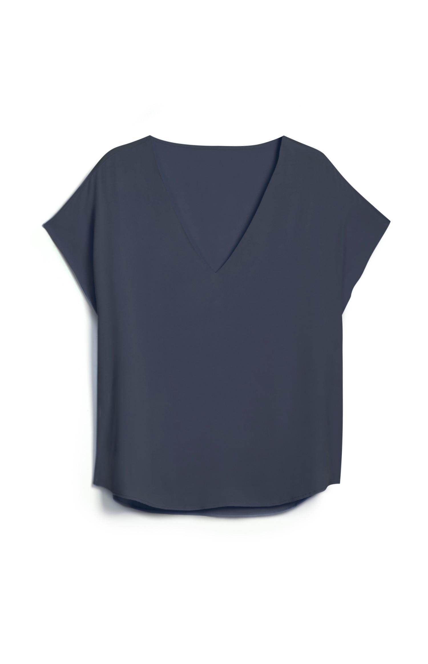 Navy V Neckline T Shirt