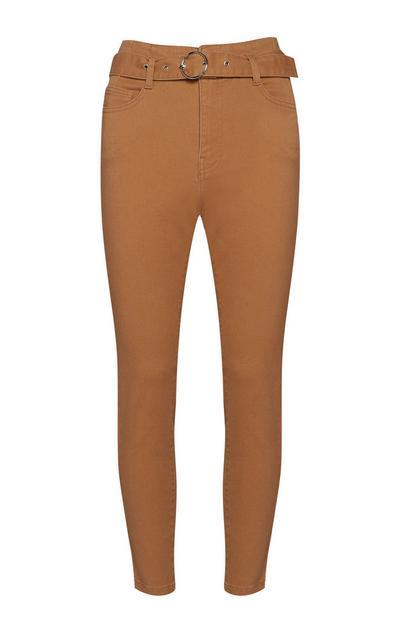 Brown Belted Skinny Jean