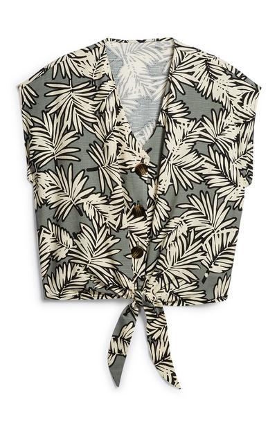 Leaf Print Tie Front Shirt