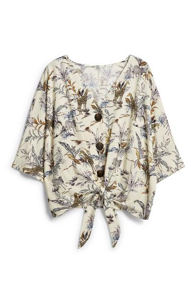 Patterned Tie Front Shirt