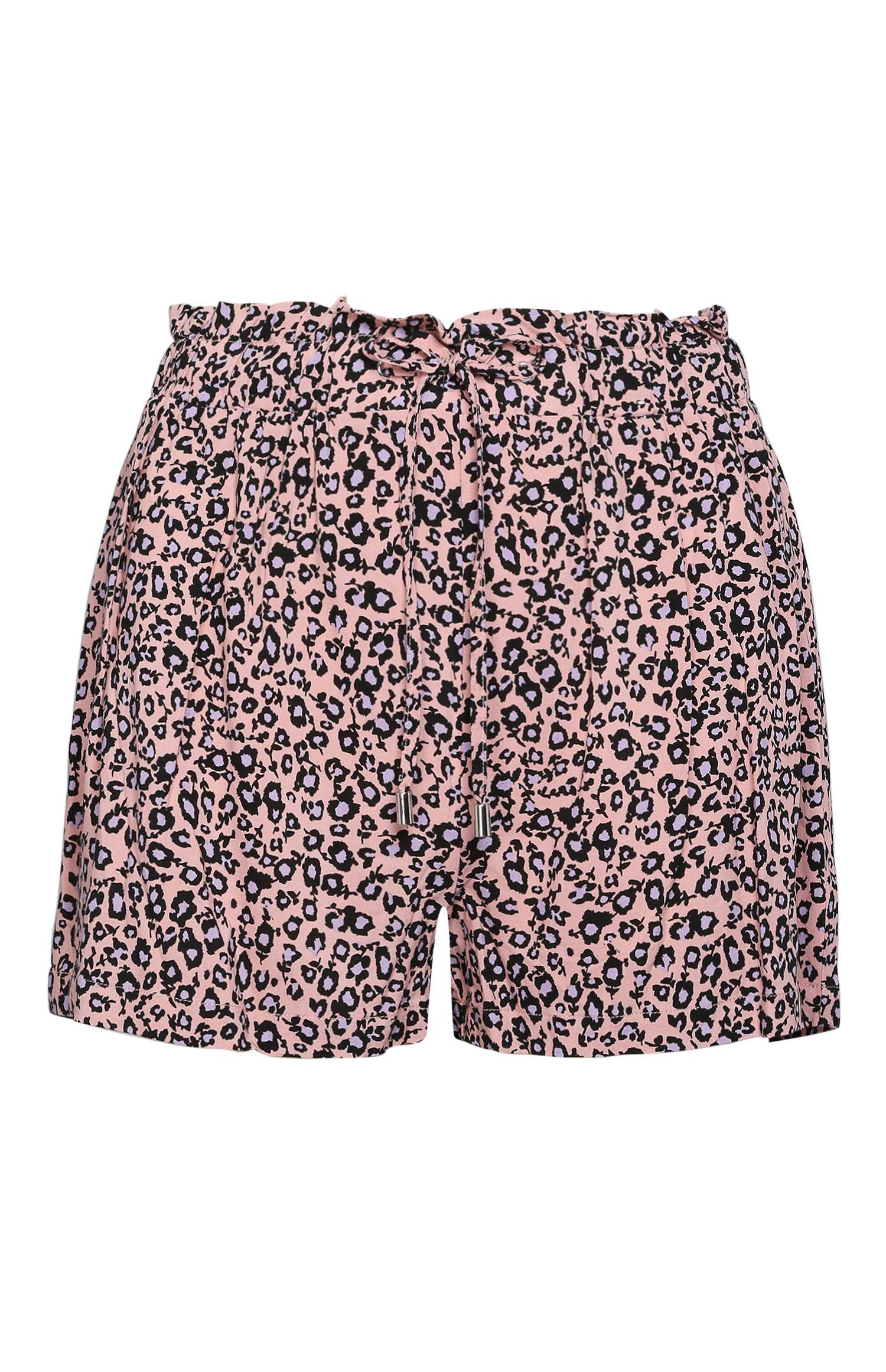 Shorts con stampa leopardata rosa