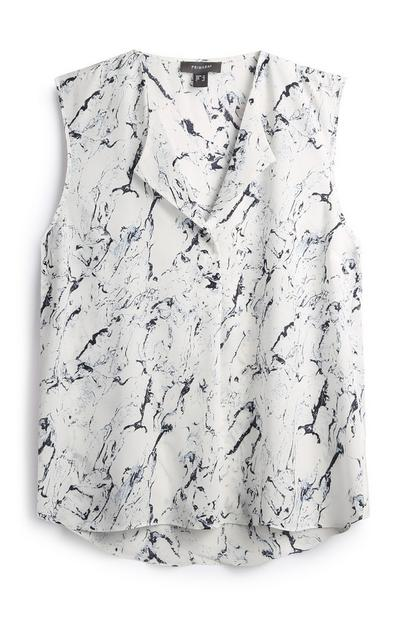 Marble Print Sleeveless Shirt