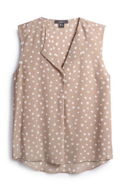 Stone Polka Dot Sleeveless Shirt