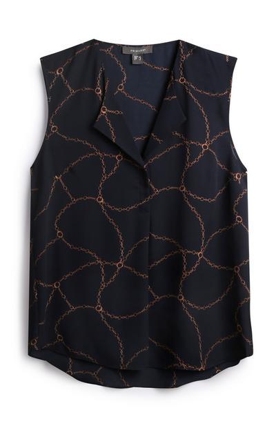 Navy Chain Sleeveless Shirt
