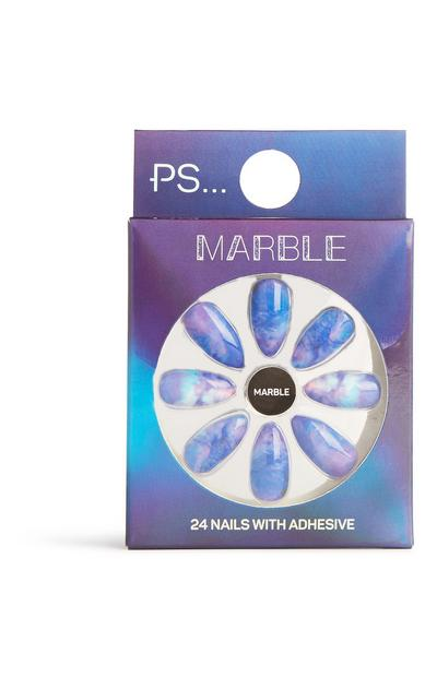 Pointed Marble False Nails