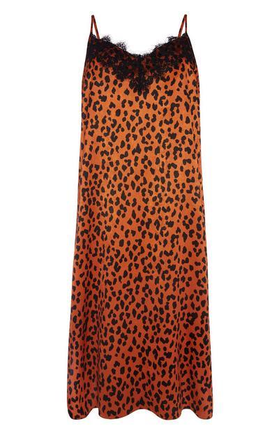 Orange Animal Print Slip Dress
