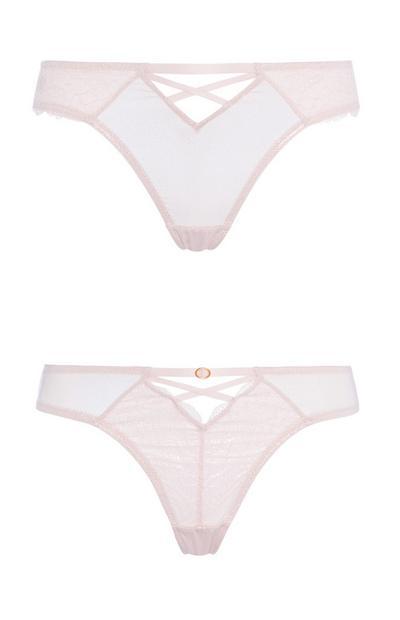 Pink Lace Thong 2Pk