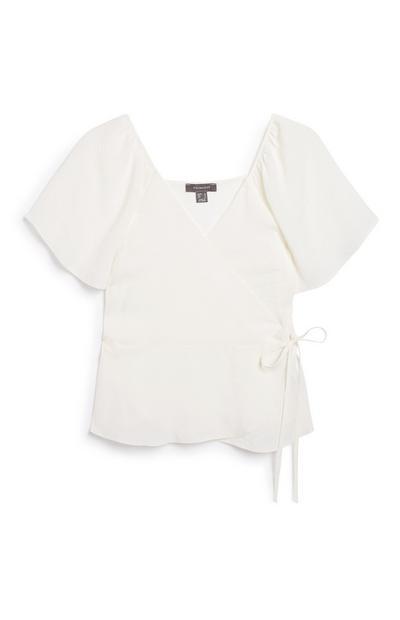 White Flutter Sleeve T-Shirt