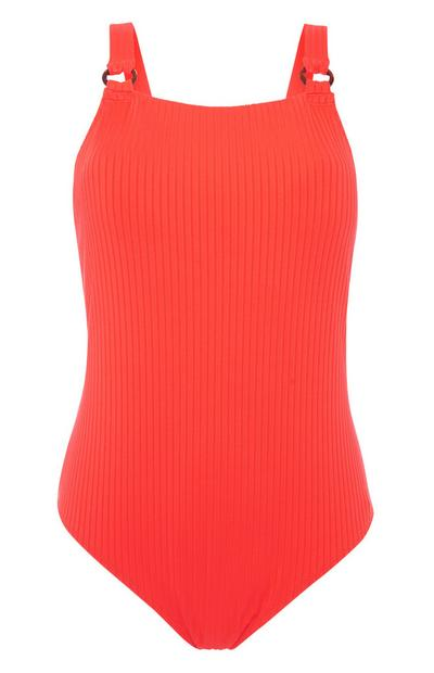 Red Ribbed Swimsuit