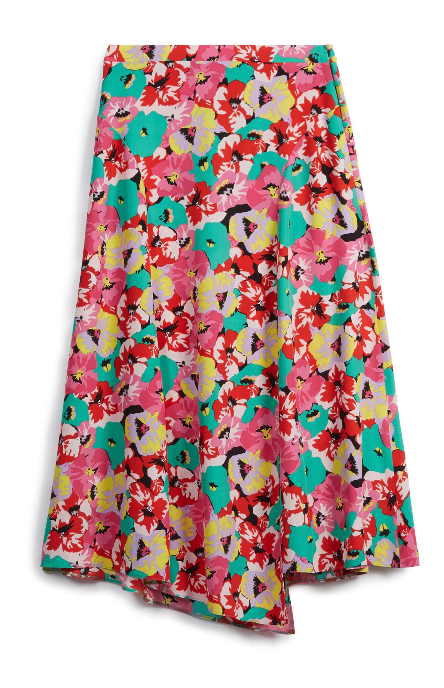 Falda de flores asimétrica