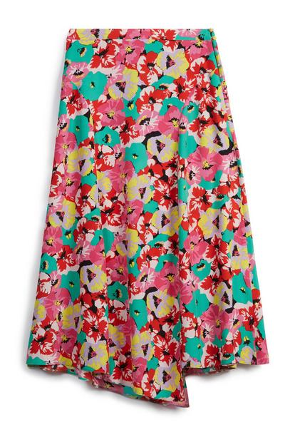 Aysmmeterical Floral Skirt
